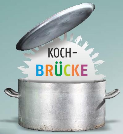 Logo der Kochbrücke, ein Topf mit dem Schriftzug Kochbrücke und dem Logo des Vereins Soziale Projekte Steiermark.